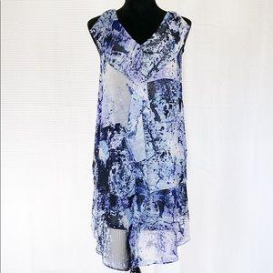 Simply Vera Vera Wang Patterned Ruffle Dress EUC
